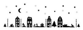 Raamstickers | Compleet straatje winterdorp