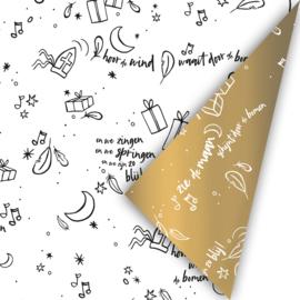 Sing along Sint - wit/goud   cadeaupapier
