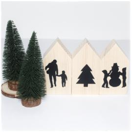 Houten huisjes (klein) | Kerst