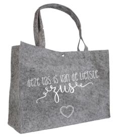 Deze tas is van de liefste zus | vilten tas