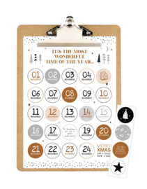 Aftelkalender Kerst A4 op klembord