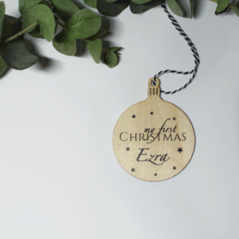 Kerstbal my first Christmas | hout