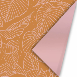 Lovely leaves roest/roze   cadeaupapier