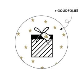 Wensetiket rond - goud - ster   sticker