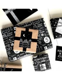 Zwart wit cadeaupapier op rol | Sinterklaas
