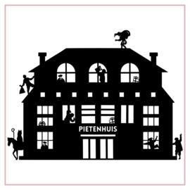 Raamstickers | Pietenhuis met pieten