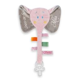 Labeldoekje olifant roze