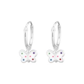 Witte vlinders met gekleurde stipjes | oorringetjes