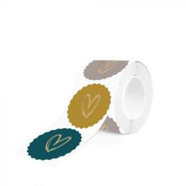 Multi - Heart Gold Coloured | sticker