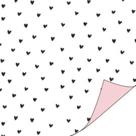 Hartjes zwart/wit/roze | cadeaupapier