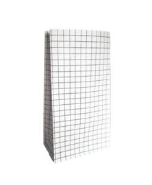 Papieren zak grid zwart wit - maat M | blokbodemzak
