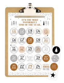 Aftelkalender Sinterklaas en Kerst A4 op klembord