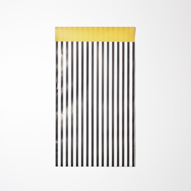 Inpakzakjes strepen zwart/oker - 12 x 19 cm