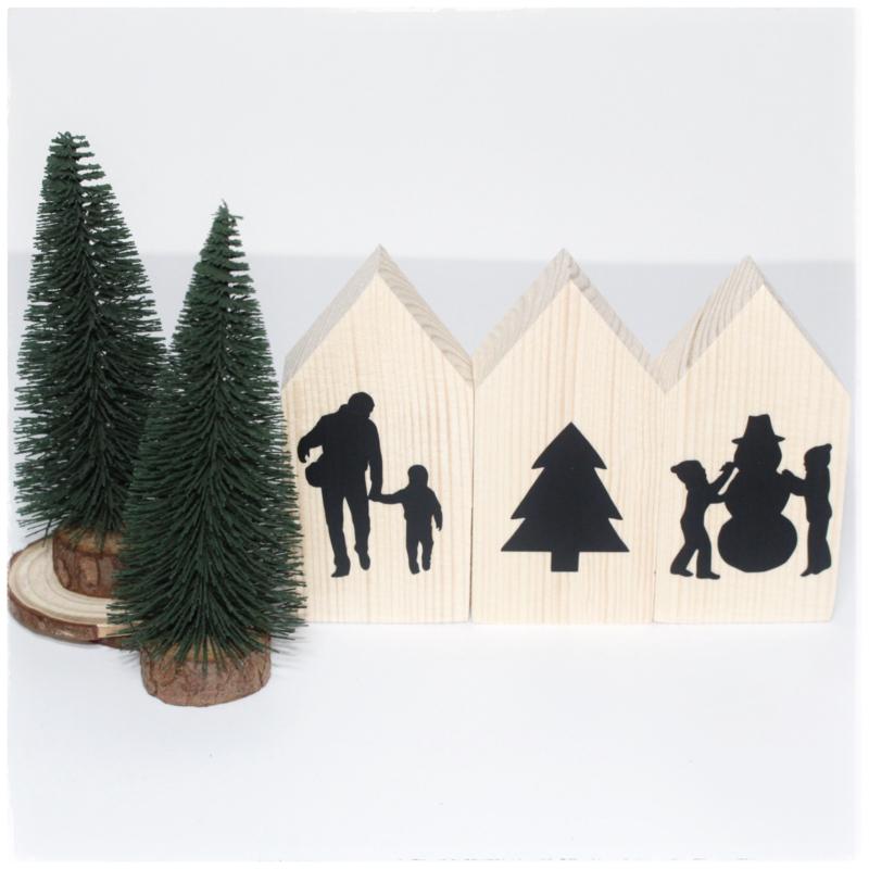 Houten huisjes (klein)   Kerst