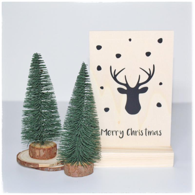 Houten kaart in houder | Kerst