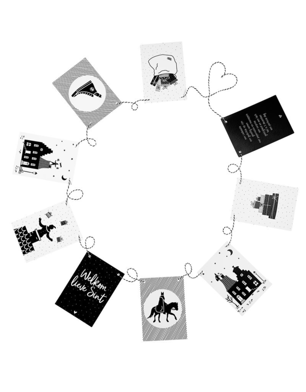 Sinterklaas slinger met 9 zwart wit kaarten | Sinterklaas