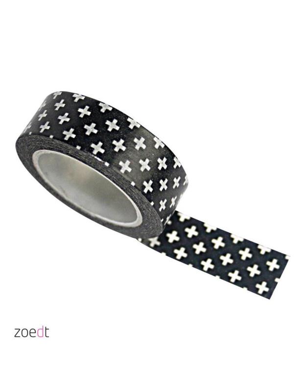 Zwart met witte plusjes | masking tape