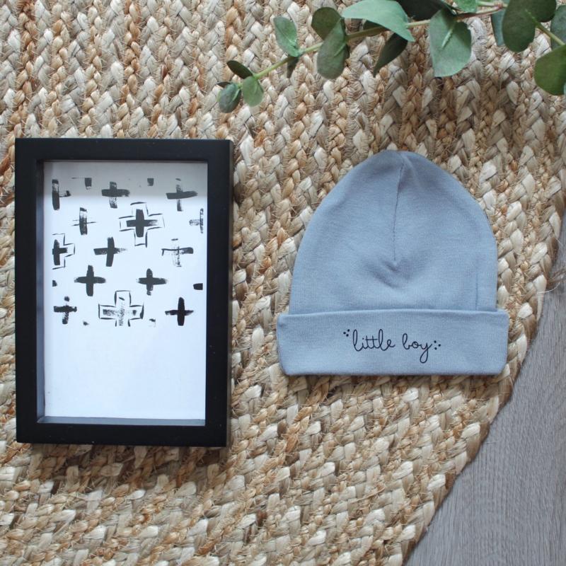 Little boy | babymutsje grey / blue