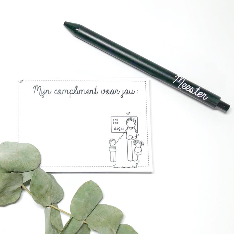 Complimentenblokje met pen | meester