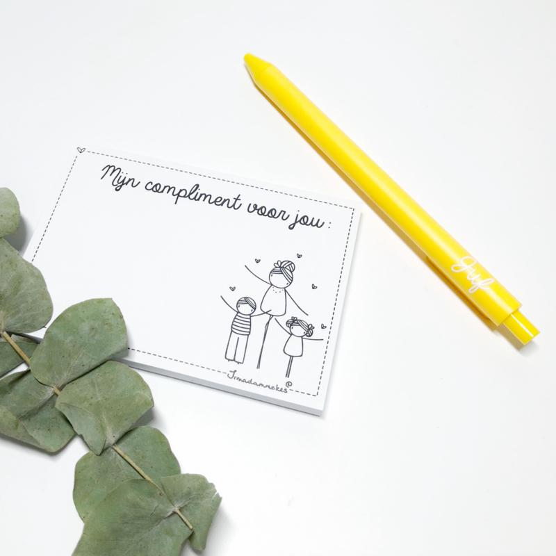 Complimentenblokje met pen   juf