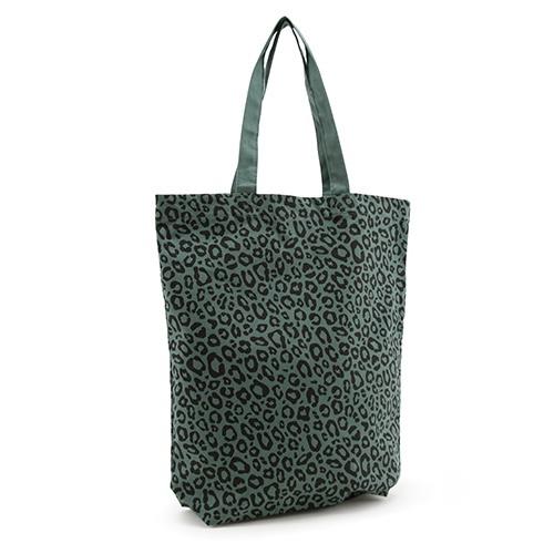 Luipaard print tas | forest green | katoenen tas