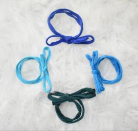 Mix 4 haarbandjes blauw tinten