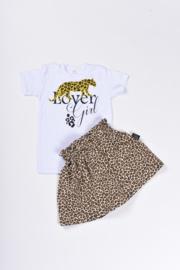 leopard 2 skirt beige