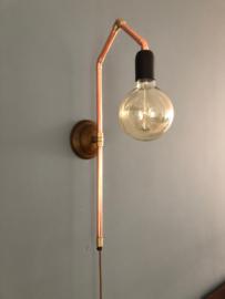 Wandlamp van roodkoper
