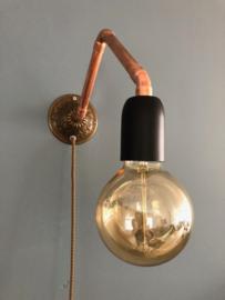 Wandlamp brocant en roodkoper