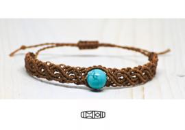Vriendschapsbandje Celtic knot brown #sinkiang #turquoise