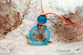 "Leren ketting ""Leather  & Glass"" ( brilketting )"