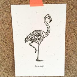Wenskaart graspapier Flamingo
