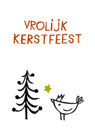Kerstkaart Vogel met kerstboom