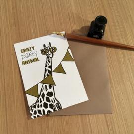 Wenskaart Party Giraf