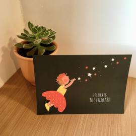 Blazend meisje nieuwjaarsbrief