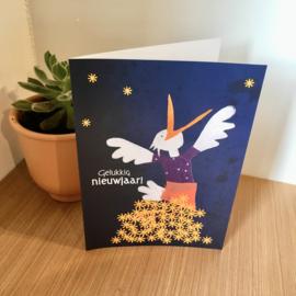 Springende vogel nieuwjaarsbrief