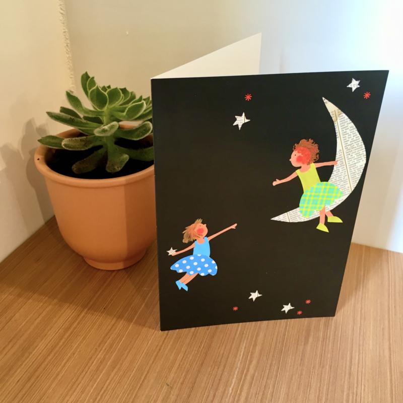 Meisjes op de maan nieuwjaarsbrief