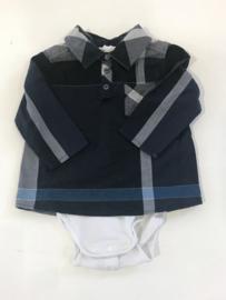 Burberry overhemd met romper in 1 voor jongen van 6 maanden met maat 68