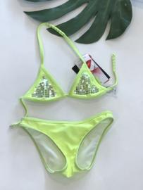 Claesens bikini neon geel voor meisje van 4 jaar met maat 104