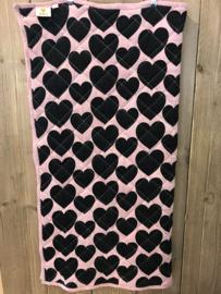Hugo Loves Tiki plaid / boxkleed roze met zwarte harten