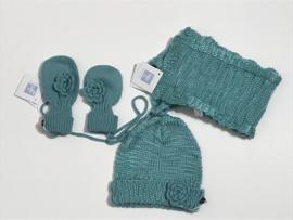 Babyface set sjaal , muts en wanten voor jongen  of meisje tussen 3 en 6 maanden