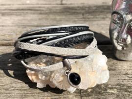Leren wraparmband Onyx