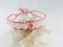 Wraparmband Rozenkwarts Boeddha roze