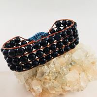 3-row Wraparmband Blauwgloed