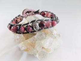 Wraparmband Rhodoniet Boeddha zilver