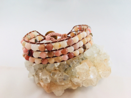 3-row Wraparmband Roze Opaal