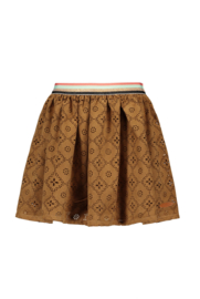 Nono perforated imitation suede skirt with multi stripe waistband