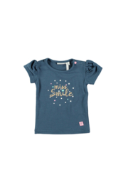 Bampidano baby girls t-shirt plain s/s navy