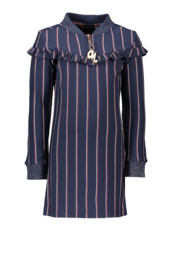Nono monky pinstripe straight dress with ruffle detail