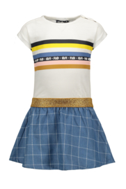 Flo baby girls slub jersey dress rainbow, check denim skirt